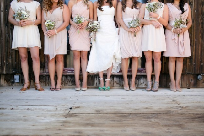 mismatche bridesmaids dresses pink with different shoes