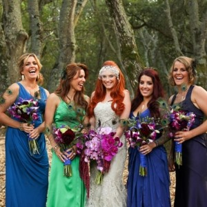 mismatched bridesmaid dresses feature