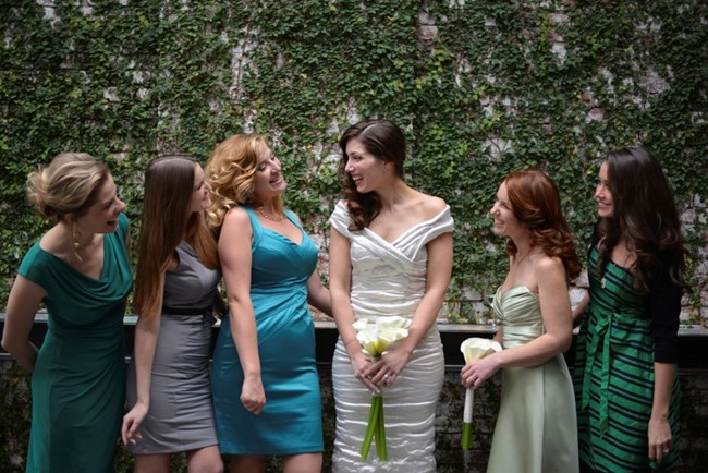 mismatched bridesmaids dresses different color same material blue and taupe