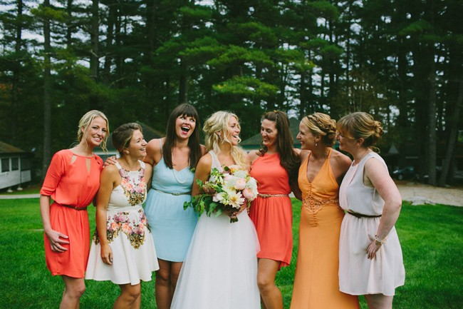 Mismatching Bridesmaid Dresses Vintage-Inspired