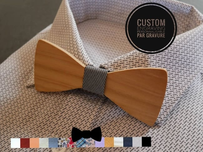 natural wood Bow Tie