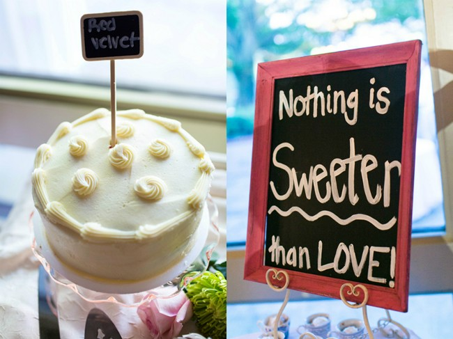 nothingn is sweeter than love chalk board sign with red velvet cake