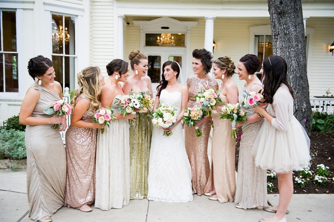 pink gold and nude sparkly mismatched formal bridesmaids dresses1