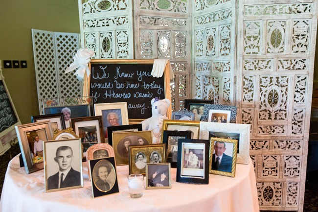 remembering loved ones at wedding reception with chalk board sign and vintage pictures