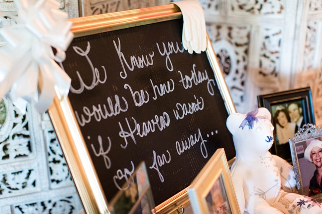 remembering loved ones at wedding reception with chalk board sign