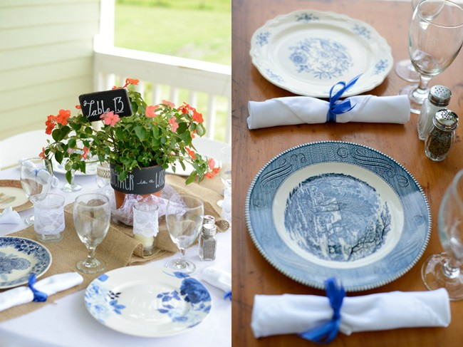 wedding reception table with burlap and blue and white china and flowers