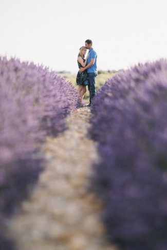 engagment shoot in lavender field rows