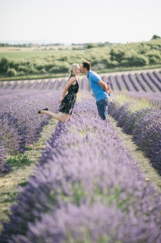 Kissing in lavender fields