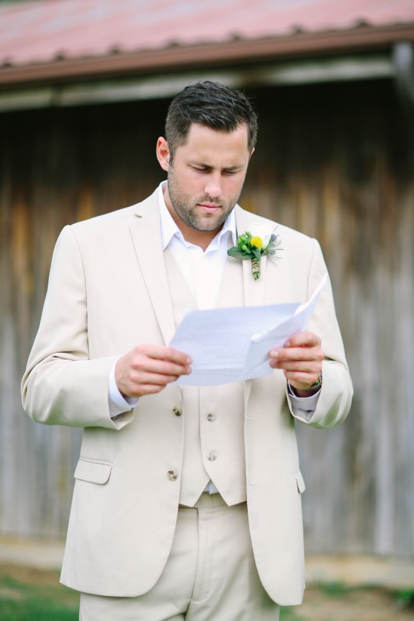 14 Groom reading letting from bride at  Lindsey Plantation in Greer SC wedding