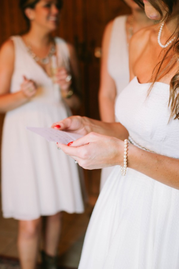 15 Bride reading letting from groom at  Lindsey Plantation in Greer SC wedding