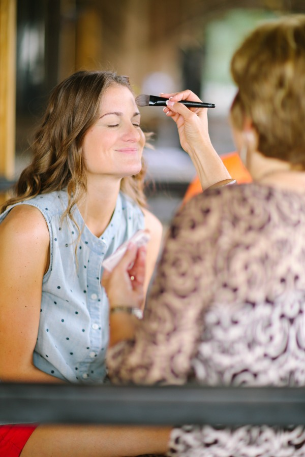 2 Bride getting her makeup done at Lindsey Plantation in Greer SC Wedding