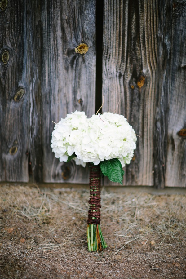 20 White hydragea bouquet with twine at  Lindsey Plantation in Greer SC wedding