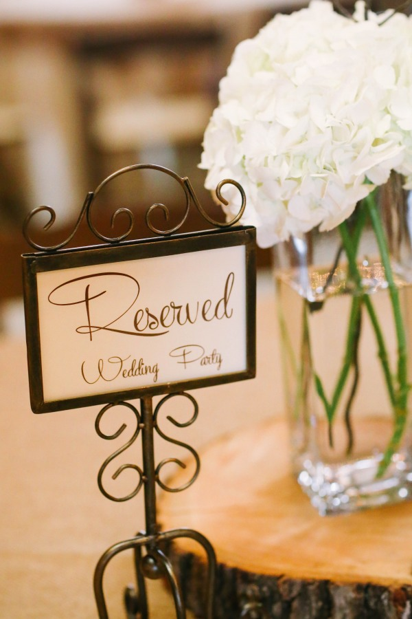 23 reserved sign on table with white hydrageas at  Lindsey Plantation in Greer SC wedding reception