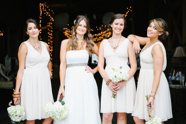 24 bride with bridesmaids in white and holding white hydrageas and wearing J Crew at  Lindsey Plantation in Greer SC wedding