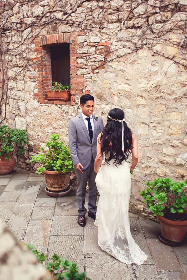 25 bride and groom seeing each other for the first time at Livernano Radda in Chianti Tuscany, Italy