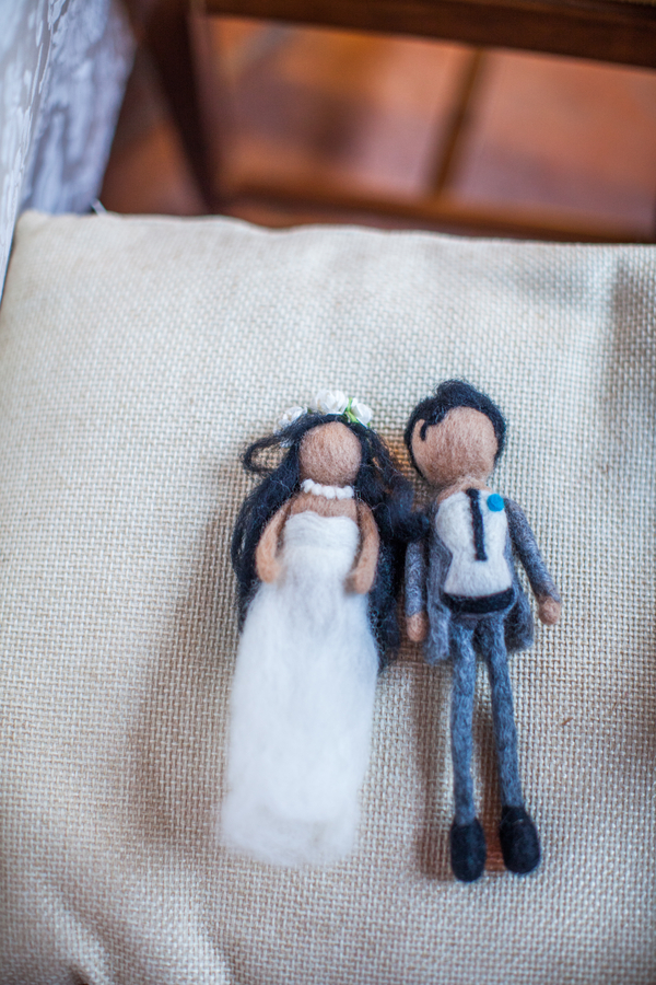 27 bride and groom felt doll at Livernano Radda in Chianti Tuscany, Italy wedding reception