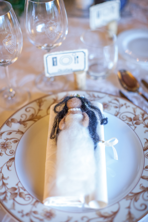 27 bride felt doll at Livernano Radda in Chianti Tuscany, Italy wedding reception