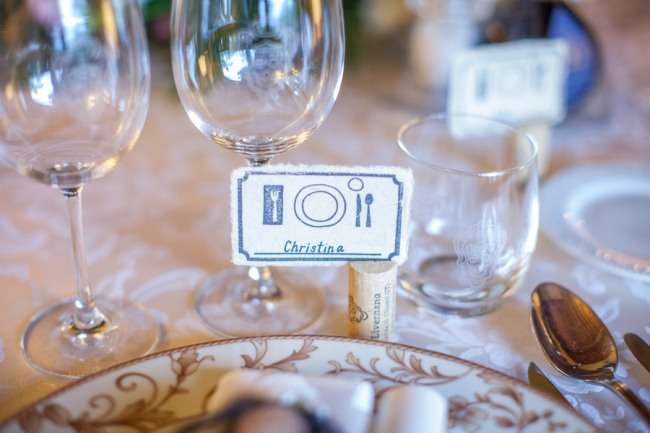 28 guest place card for wedding reception at Livernano Radda in Chianti Tuscany, Italy wedding picture of a place setting and name