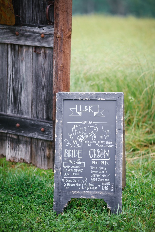32 Chalkboard wedding sign at  Lindsey Plantation in Greer SC wedding