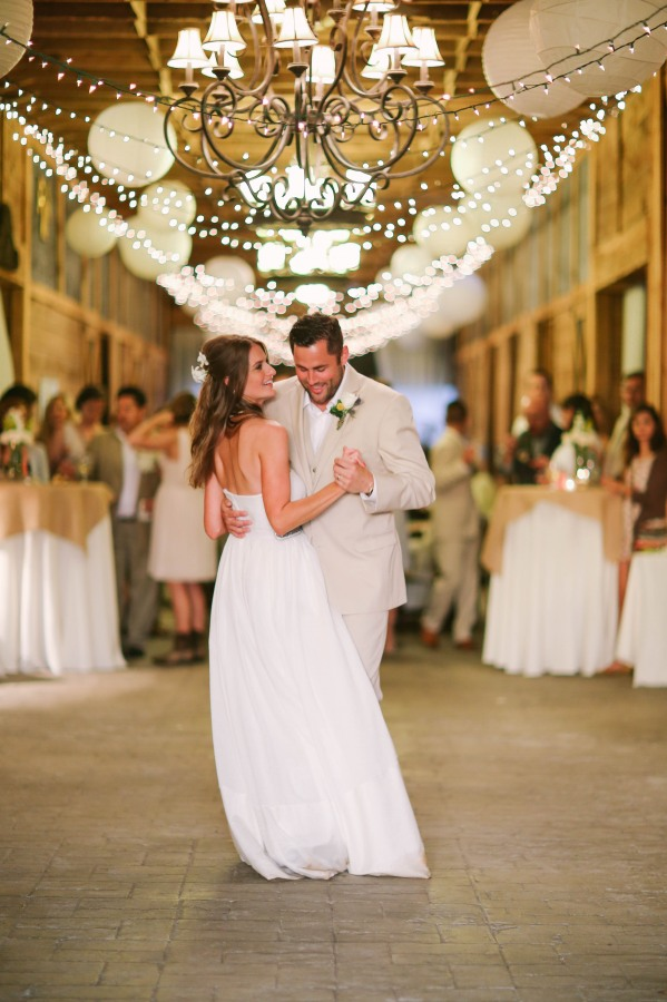 53 bride and groom dancing under white lanterns at  Lindsey Plantation in Greer SC wedding reception