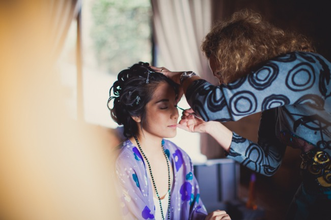 7 bride getting her make up done at Livernano Radda in Chianti Tuscany, Italy wedding