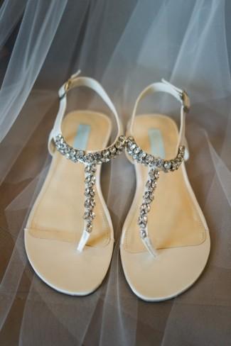 Blue by Betsey Johnson Spark ivory rhinestone sandals
