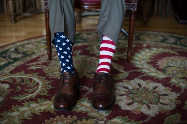 groom's stars and stripes socks
