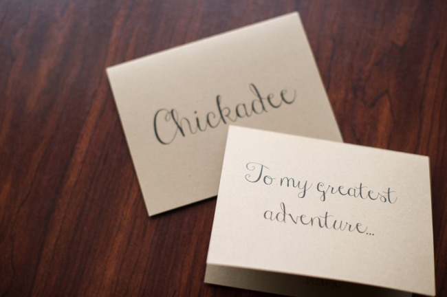 "card that says, ""To my greatest adventure..."""