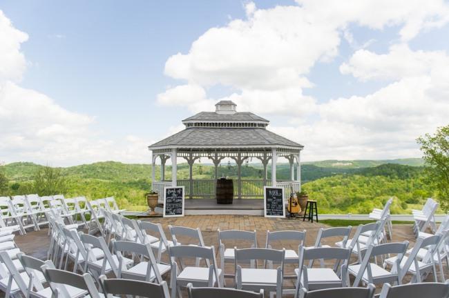 Outdoor gazebo wedding ceremony at Benton Grove
