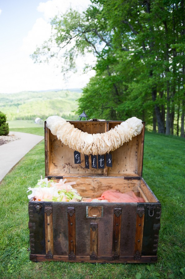 Vintage trunk for gifts