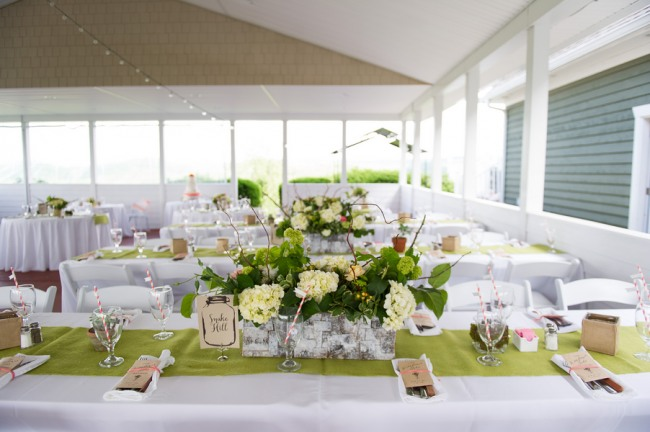 centerpiece and table setting with lime green wedding theme