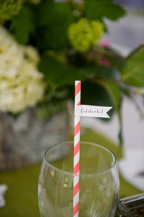 pink swirl straw with celebrate flag attached