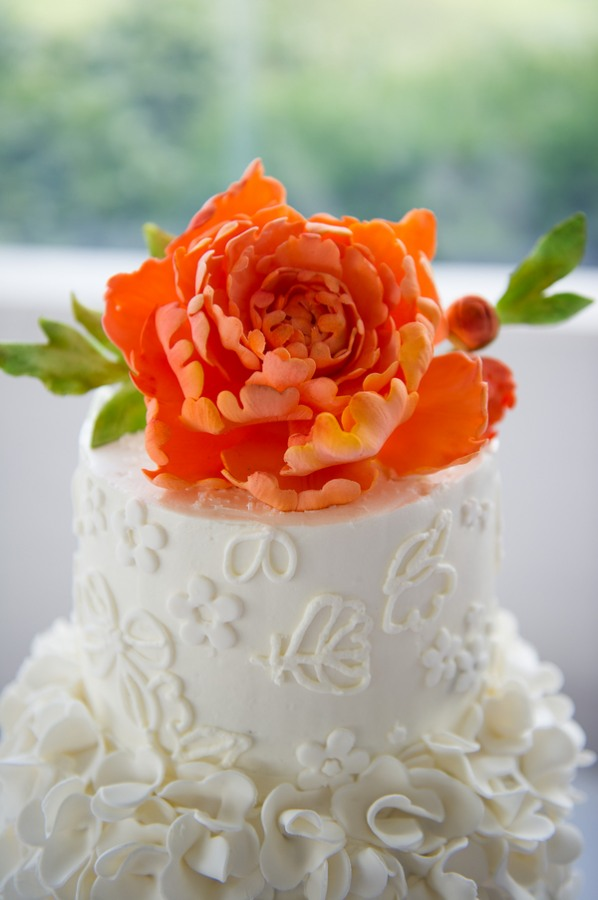 real orange flower cake topper
