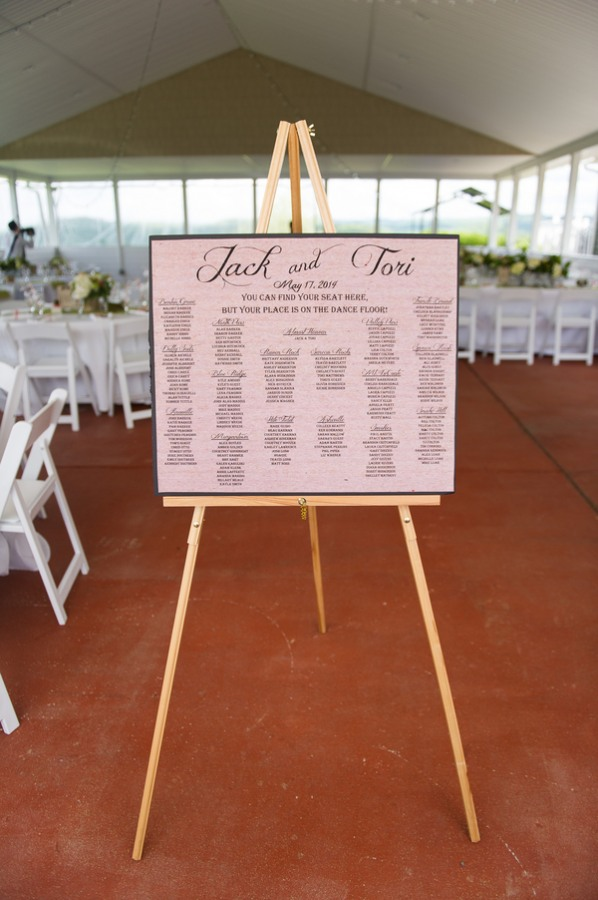 table seating chart on easel