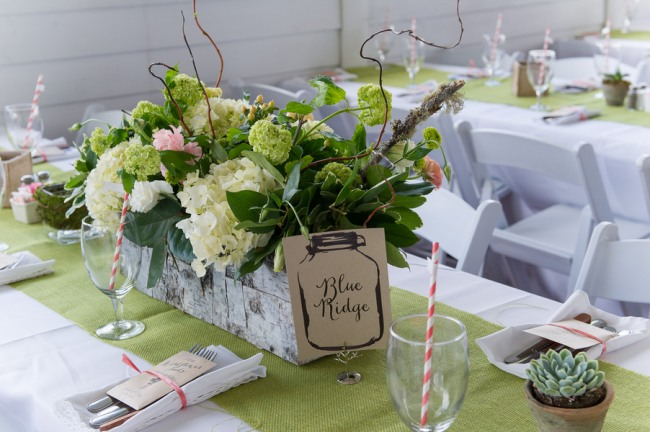 table centerpiece for lime green wedding reception