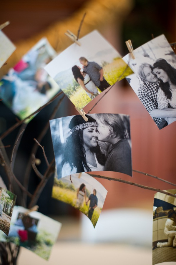 bride and groom photos clipped onto tree branches