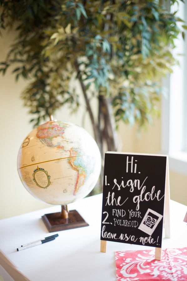 tabletop globe guestbook for guests to sign