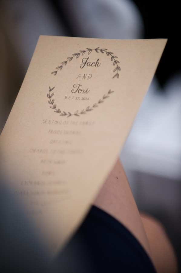Jack and Tori wedding program
