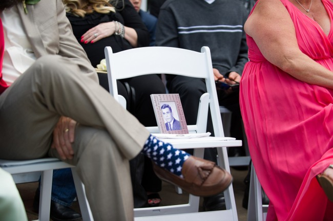 photo on a white ceremony chair