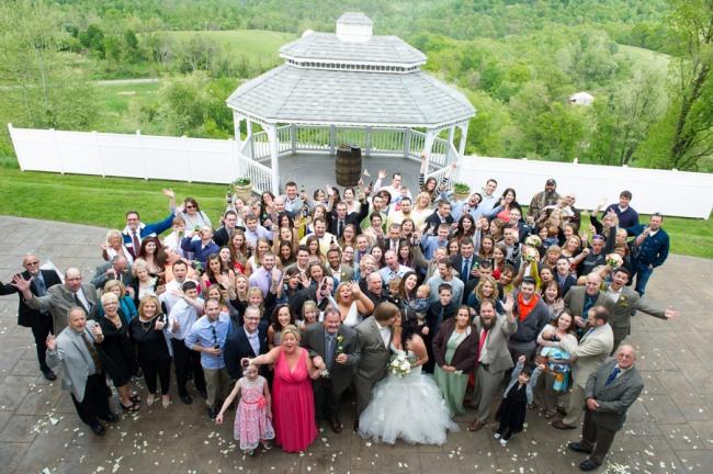 group photo of wedding guests at Benton Grove