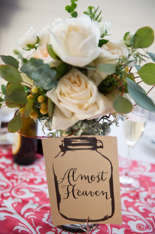 white roses in table centerpiece
