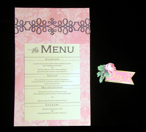 DIY Menu and Table Place Setting Card
