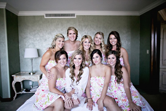 Romantic California wedding bridesmaids with bride before the wedding
