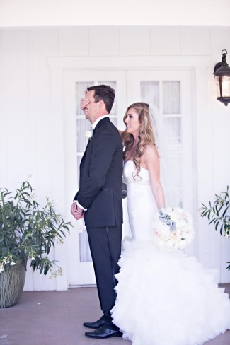 Romantic California wedding first look