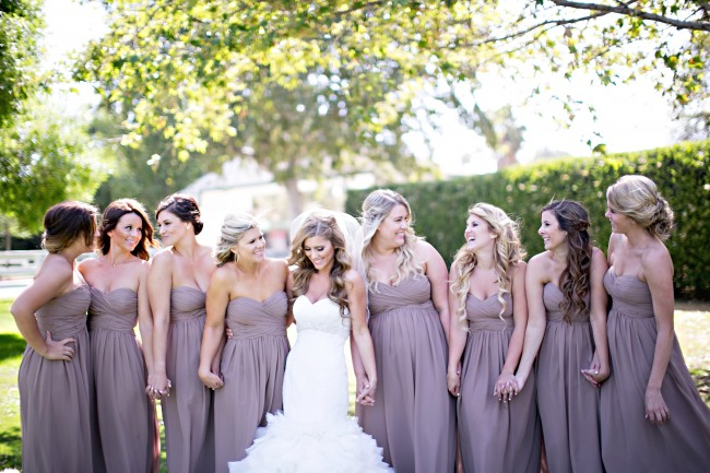 Bridesmaids with bride outside at Calamigos
