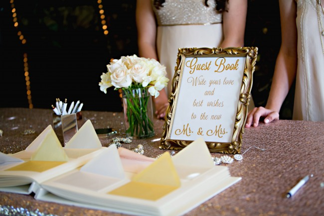 romantic California wedding guest book table