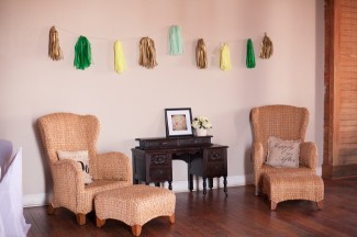 10 Guest louch area with gold and green and blue fringe at wedding