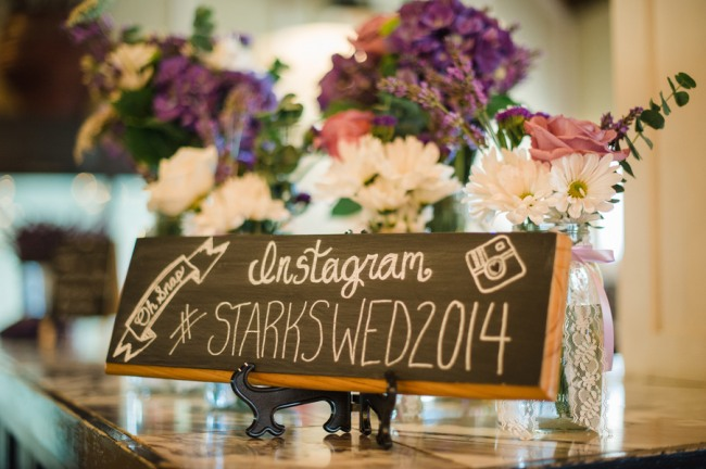 Homemade wedding sign with instagram hash tag for lavender infused wedding