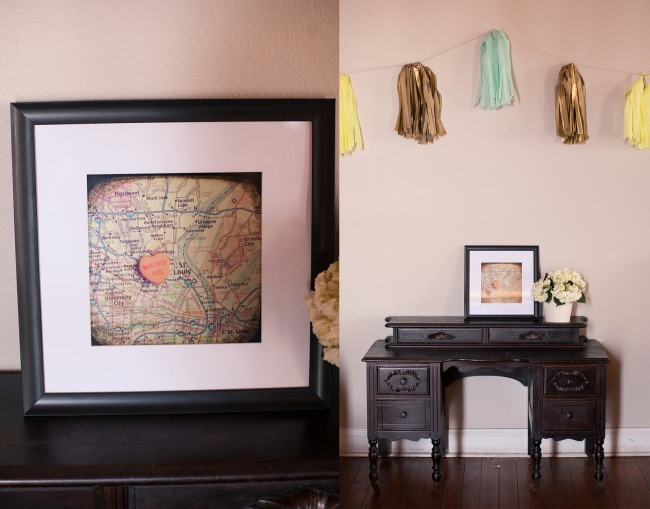12 Black desk with a map of where the bride and groom met and green, yellow, gold fringe