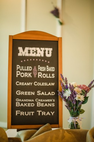 Green Villa Barn & Gardens wedding reception chalkboard menu